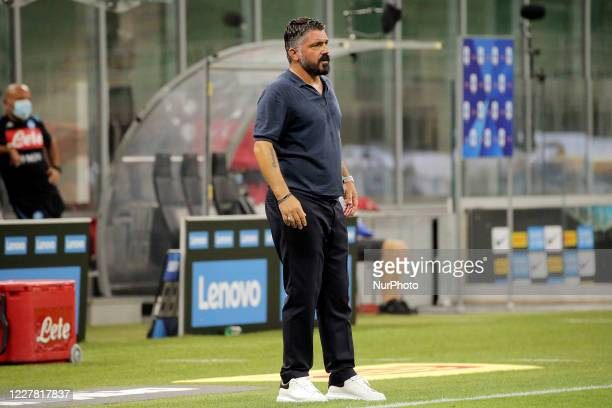 Gennaro Gattuso of SSC Napoli in action during the Serie A match between FC Internazionale and SSC Napoli at Stadio Giuseppe Meazza on July 28 2020...