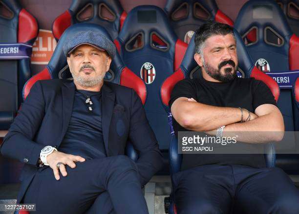 Gennaro Gattuso Sinisa Mihalovic during the Serie A match between Bologna FC and SSC Napoli at Stadio Renato Dall'Ara on July 15 2020 in Bologna Italy