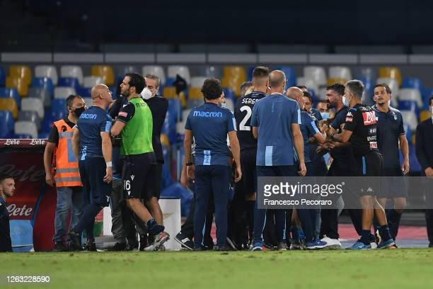 Gennaro Gattuso SSC Napoli coach and a SS Lazio staff member argue during the Serie A match between SSC Napoli and SS Lazio at Stadio San Paolo on...
