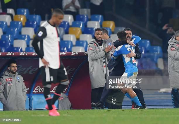 Gennaro Gattuso SSC Napoli coach and Lorenzo Insigne of SSC Napoli celebrate the 20 goal scored by Lorenzo Insigne as Douglas Costa of Juventus...