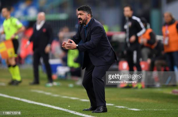 Gennaro Gattuso SSC Napoli coach during the Coppa Italia match between SSC Napoli and Perugia on January 14 2020 in Naples Italy