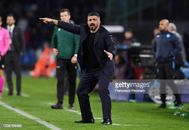 Gennaro Gattuso SSC Napoli coach during the UEFA Champions League round of 16 first leg match between SSC Napoli and FC Barcelona at Stadio San Paolo...
