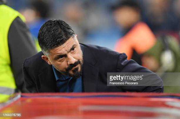Gennaro Gattuso SSC Napoli coach gestures before the Serie A match between SSC Napoli and ACF Fiorentina at Stadio San Paolo on January 18 2020 in...