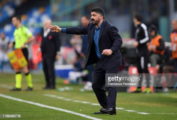 Gennaro Gattuso SSC Napoli coach gestures during the Coppa Italia match between SSC Napoli and Perugia on January 14 2020 in Naples Italy