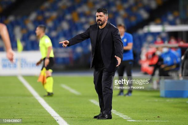 Gennaro Gattuso SSC Napoli coach gestures during the Coppa Italia SemiFinal Second Leg match between SSC Napoli and FC Internazionale at Stadio San...