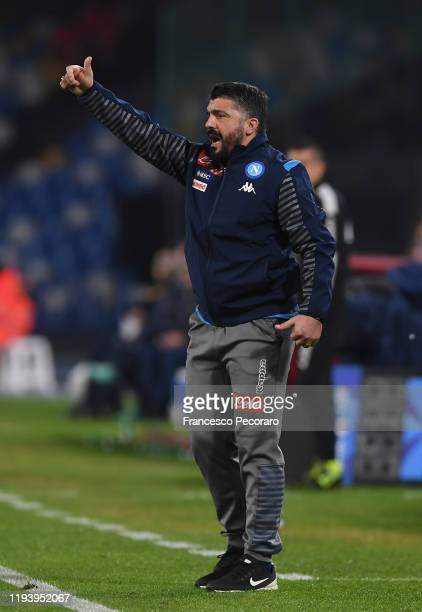 Gennaro Gattuso SSC Napoli coach gestures during the Serie A match between SSC Napoli and Parma Calcio at Stadio San Paolo on December 14 2019 in...