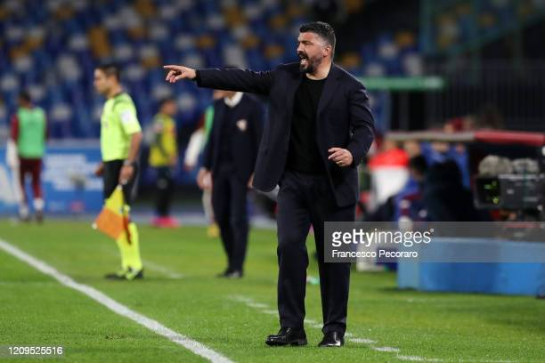 Gennaro Gattuso SSC Napoli coach gestures during the Serie A match between SSC Napoli and Torino FC at Stadio San Paolo on February 29 2020 in Naples...