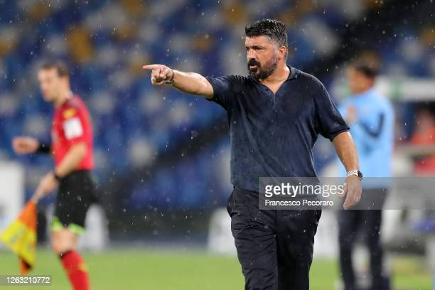 Gennaro Gattuso SSC Napoli coach gestures during the Serie A match between SSC Napoli and SS Lazio at Stadio San Paolo on August 01 2020 in Naples...