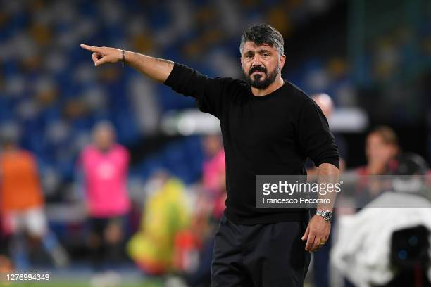 Gennaro Gattuso SSC Napoli coach gestures during the Serie A match between SSC Napoli and Genoa CFC at Stadio San Paolo on September 27, 2020 in...
