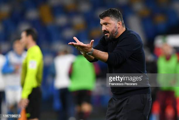 Gennaro Gattuso SSC Napoli coach gestures during the Serie A match between SSC Napoli and AC Milan at Stadio San Paolo on November 22, 2020 in...