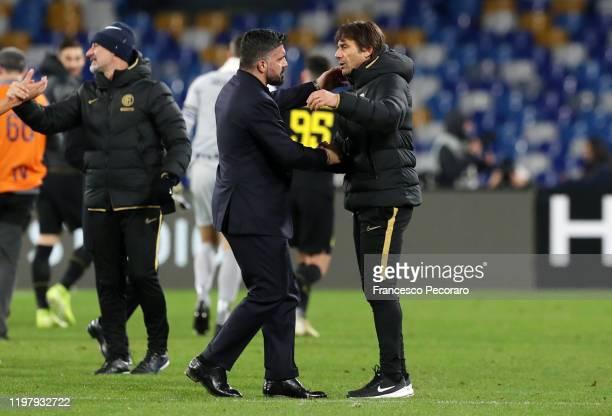 Gennaro Gattuso SSC Napoli coach greets Antonio Conte FC Internazionale coach after the Serie A match between SSC Napoli and FC Internazionale at...