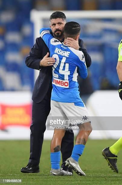 Gennaro Gattuso SSC Napoli coach greets Lorenzo Insigne of SSC Napoli after the Coppa Italia match between SSC Napoli and Perugia on January 14 2020...