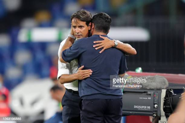 Gennaro Gattuso SSC Napoli coach greets Simone Inzaghi SS Lazio coach before the Serie A match between SSC Napoli and SS Lazio at Stadio San Paolo on...
