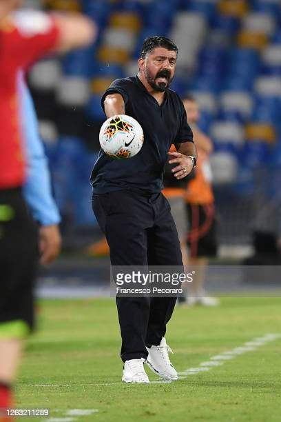 Gennaro Gattuso SSC Napoli coach hits a ball during the Serie A match between SSC Napoli and SS Lazio at Stadio San Paolo on August 01 2020 in Naples...