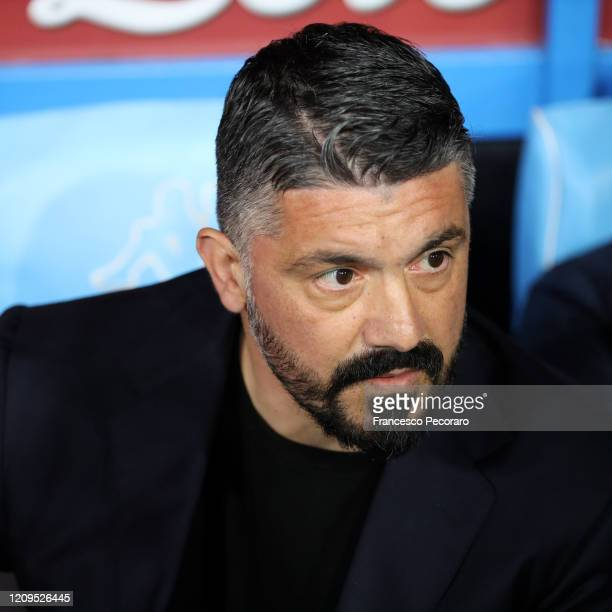 Gennaro Gattuso SSC Napoli coach looks on before the Serie A match between SSC Napoli and Torino FC at Stadio San Paolo on February 29, 2020 in...