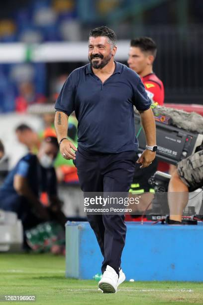 Gennaro Gattuso SSC Napoli coach looks on during the Serie A match between SSC Napoli and SS Lazio at Stadio San Paolo on August 01 2020 in Naples...