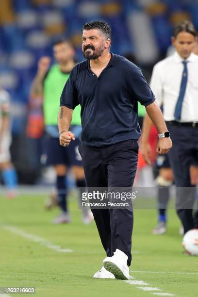 Gennaro Gattuso SSC Napoli coach reacts during the Serie A match between SSC Napoli and SS Lazio at Stadio San Paolo on August 01 2020 in Naples Italy