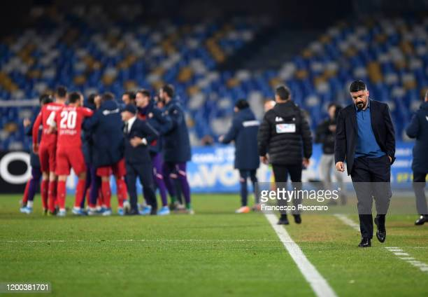 Gennaro Gattuso SSC Napoli coach stands disappointed beside the ACF Fiorentina players celebrating the 01 goal scored by Federico Chiesa during the...