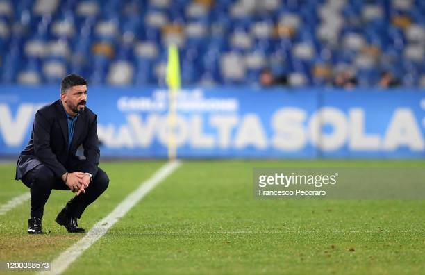 Gennaro Gattuso SSC Napoli coach stands disappointed during the Serie A match between SSC Napoli and ACF Fiorentina at Stadio San Paolo on January 18...