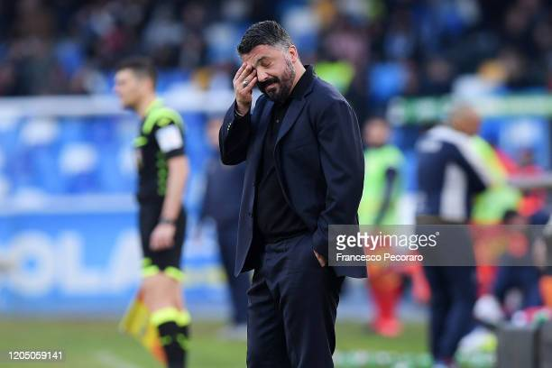 Gennaro Gattuso SSC Napoli coach stands disappointed during the Serie A match between SSC Napoli and US Lecce at Stadio San Paolo on February 09 2020...