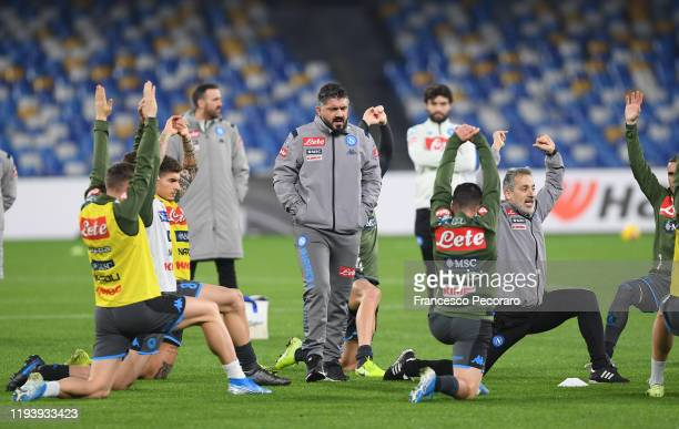 Gennaro Gattuso SSC Napoli coach watches his players during warm up prior to the Serie A match between SSC Napoli and Parma Calcio at Stadio San...