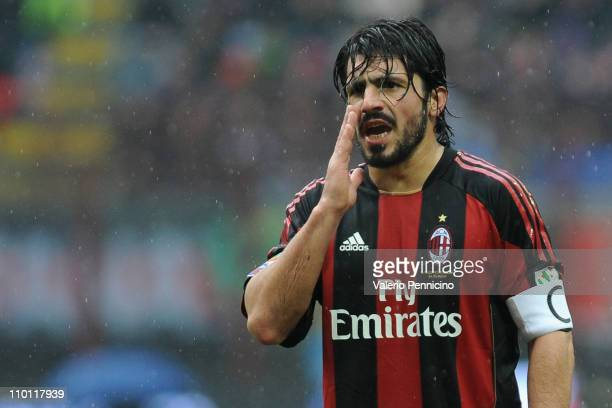 Gennaro Ivan Gattuso of AC Milan gestures during the Serie A match between AC Milan and AS Bari at Stadio Giuseppe Meazza on March 13 2011 in Milan...
