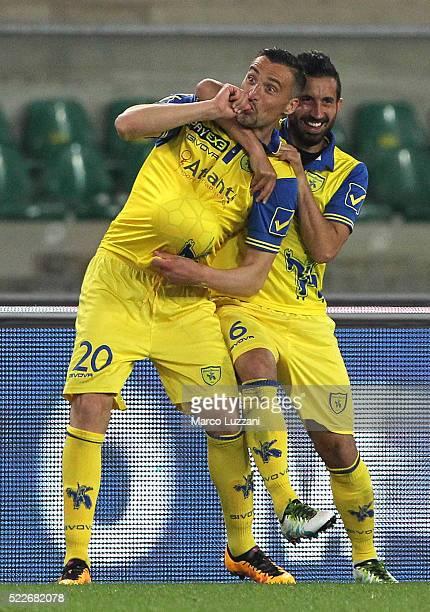 Gennaro Sardo of AC Chievo Verona celebrates his goal with his team-mate Giampiero Pinzi during the Serie A match between AC Chievo Verona and...
