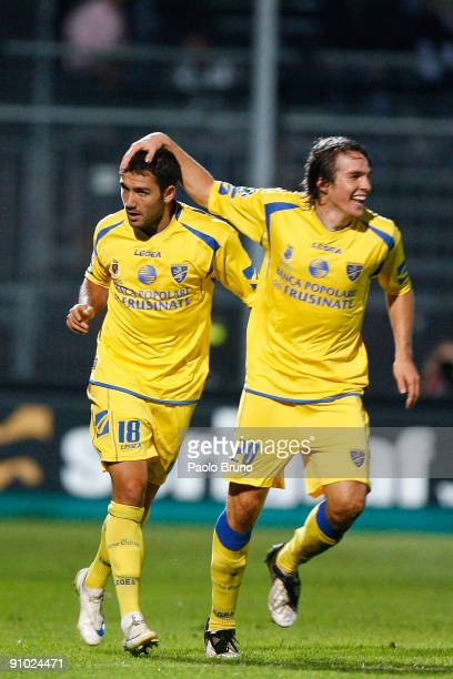 Gennaro Troianello of Frosinone Calcio celebrates his opening goal with teammate Robert Gucher during the Serie B match between Frosinone Calcio and...
