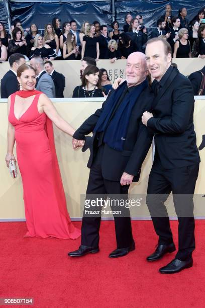 Gennera Banks actors Jonathan Banks and Bob Odenkirk attend the 24th Annual Screen ActorsGuild Awards at The Shrine Auditorium on January 21 2018 in...