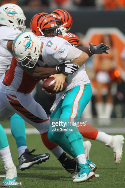 Geno Atkins of the Cincinnati Bengals sacks Ryan Tannehill of the Miami Dolphins during their game at Paul Brown Stadium on October 7 2018 in...