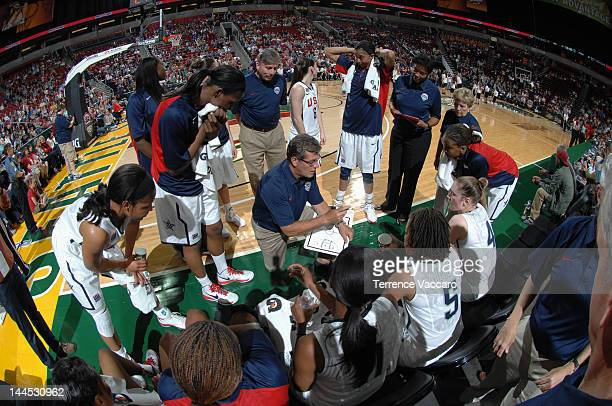 Geno Auriemma of the 2012 USA Basketball Women's National Team addresses him team during a time out against the 2012 China Women's National Team...