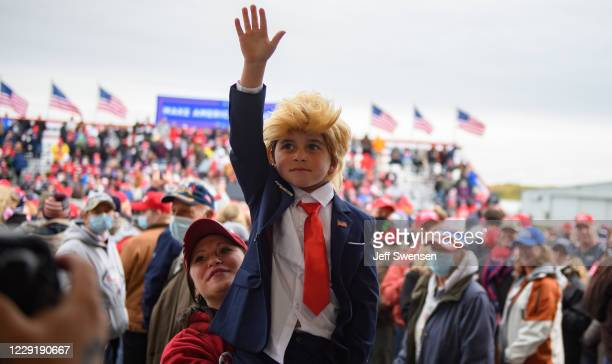 Geno Benford of Johnstown, Pennsylvania, traveled three hours with his family to join other supporters of U.S. President Donald Trump at North Coast...