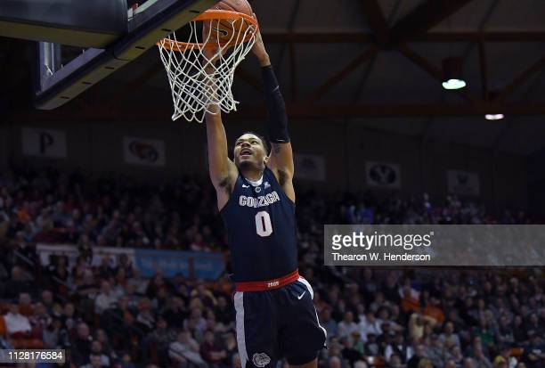 Geno Crandall of the Gonzaga Bulldogs goes up for a slam dunk against the Universisty Of The Pacific Tigers during the first half of their NCAA...