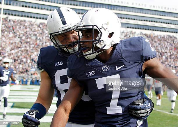 Geno Lewis of the Penn State Nittany Lions celebrates with Mike Gesicki after catching a 7 yard touchdown pass in the first half during the game...