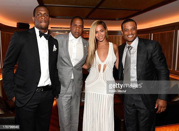 Geno Smith JayZ Beyonce and Robinson Cano attend The 40/40 Club 10 Year Anniversary Party at 40 / 40 Club on June 17 2013 in New York City