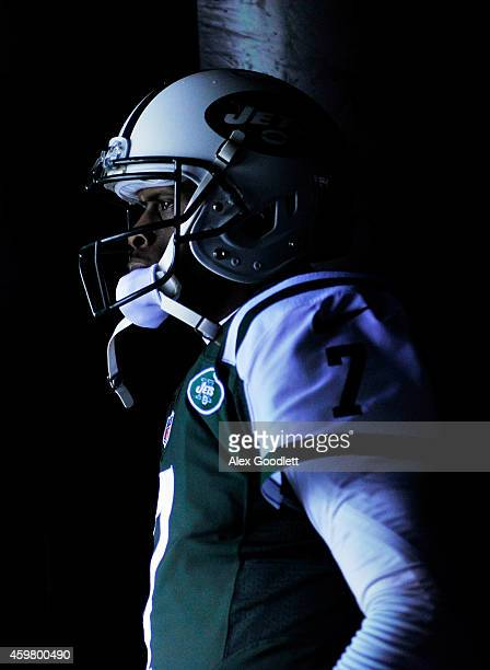 Geno Smith of the New York Jets looks on from the tunnel prior to taking the field for their game against the Miami Dolphins at MetLife Stadium on...