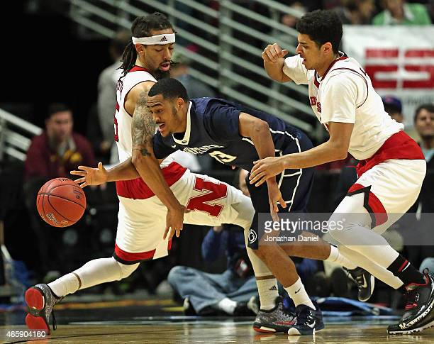 Geno Thorpe of the Penn State Nittany Lions tries to get between Terran Petteway and Tai Webster of the Nebraska Cornhuskers during the first round...