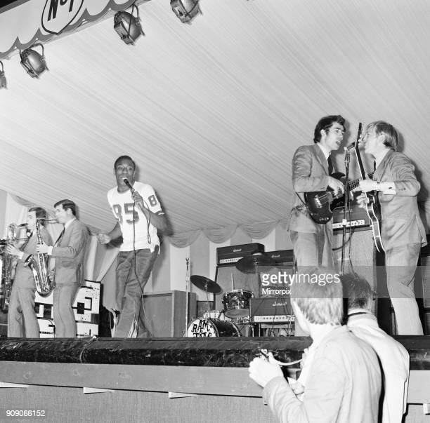 Geno Washington and the Ram Jam Band on stage at the 6th National Jazz and Blues Festival held at Windsor racecourse, 29th July 1966.