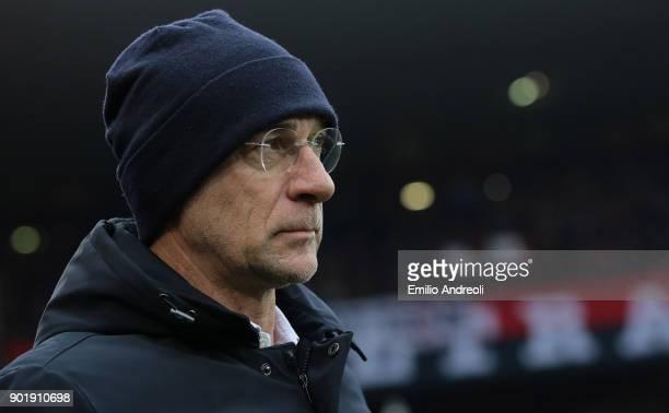 Genoa CFC coach Davide Ballardini looks on before the serie A match between Genoa CFC and US Sassuolo at Stadio Luigi Ferraris on January 6 2018 in...