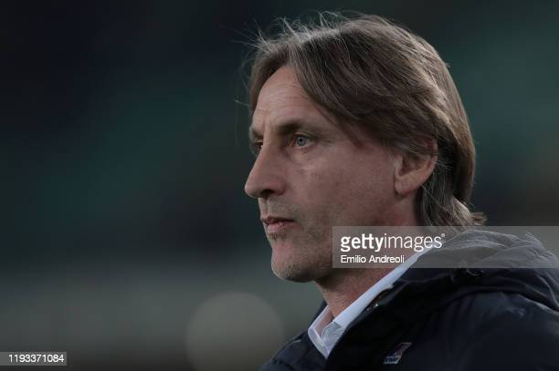 Genoa CFC coach Davide Nicola looks on during the Serie A match between Hellas Verona and Genoa CFC at Stadio Marcantonio Bentegodi on January 12...