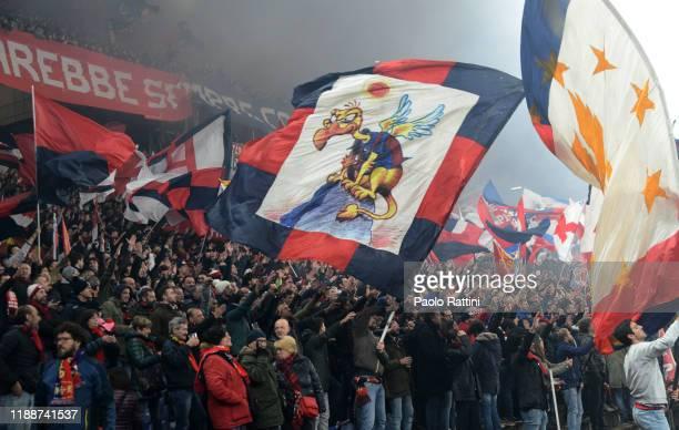 Genoa CFC fans cheer their team during the Serie A match between Genoa CFC and UC Sampdoria at Stadio Luigi Ferraris on December 15, 2019 in Genoa,...