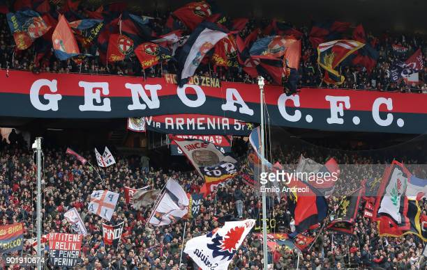 Genoa CFC fans show their support during the serie A match between Genoa CFC and US Sassuolo at Stadio Luigi Ferraris on January 6 2018 in Genoa Italy