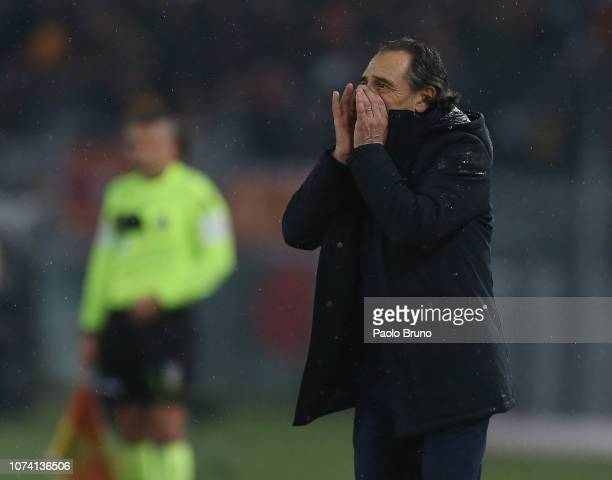 Genoa CFC head coach Cesare Prandelli reacts during the Serie A match between AS Roma and Genoa CFC at Stadio Olimpico on December 16 2018 in Rome...