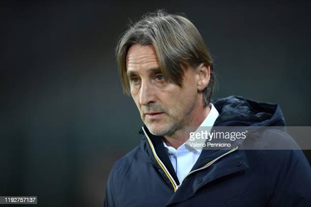 Genoa CFC head coach Davide Nicola looks on during the Coppa Italia match between Torino FC and Genoa CFC at Stadio Olimpico Grande Torino on January...