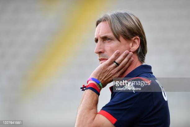 Genoa CFC head coach Davide Nicola looks on during the Serie A match between Torino FC and Genoa CFC at Stadio Olimpico di Torino on July 16, 2020 in...