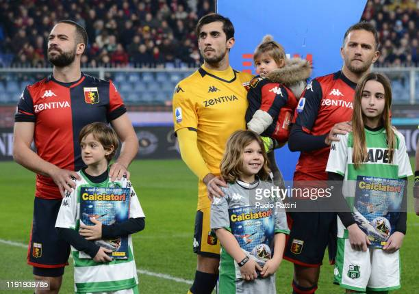 Genoa CFC players and children with Album Panini before the Serie A match between Genoa CFC and US Sassuolo at Stadio Luigi Ferraris on January 5,...