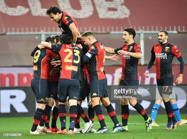 Genoa CFC players celebrare after scoring of Goran Pandev of Genoa during the Serie A match between Genoa CFC and SSC Napoli- Serie A at Stadio Luigi...