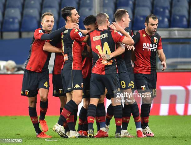 Genoa CFC players celebrate after score of Gianluca Scamacca during the Serie A match between UC Sampdoria and Genoa CFC at Stadio Luigi Ferraris on...