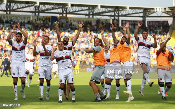 Genoa CFC players celebrate the victory after the Serie A match between Frosinone Calcio and Genoa CFC at Stadio Benito Stirpe on September 30 2018...