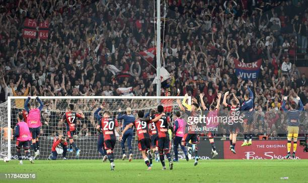 Genoa CFC players happy at the end of Serie A match between Genoa CFC and Brescia Calcio at Stadio Luigi Ferraris on October 26 2019 in Genoa Italy